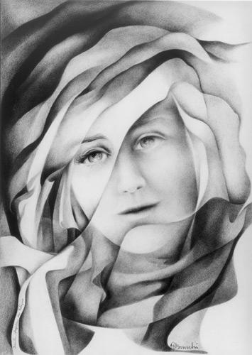 1992. Angela da Foligno. Matita di Angela Bruschi. http://www.giovannabruschi.it/galleria/mistica